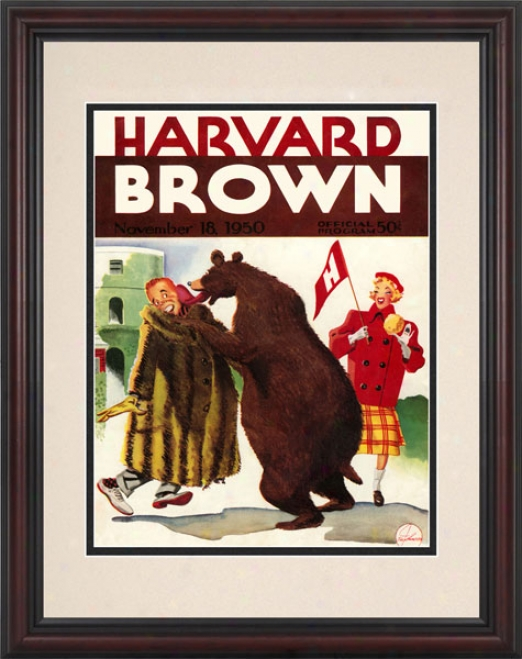 1950 Harvard Crimson Vs. Brown Bears 8.5 X 11 Framed Historic Footbali Print