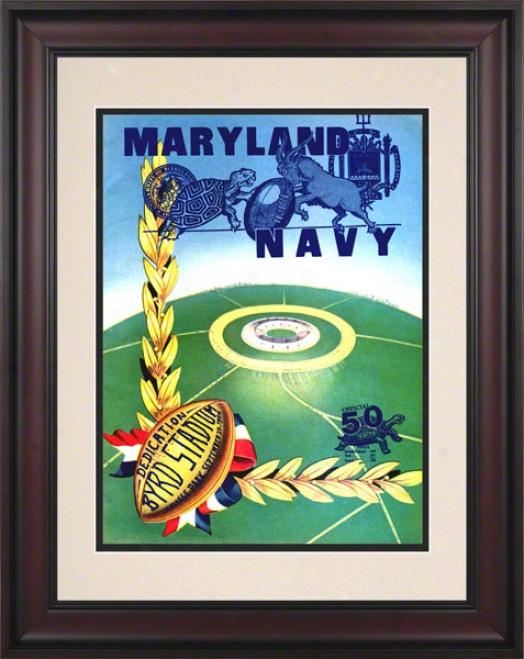 1950 Maryland Vs. Navy 10.5x14 Framed Historic Football Print