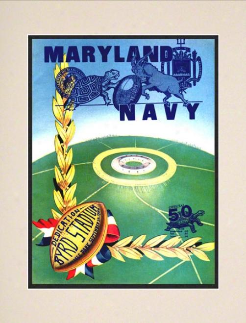 1950 Maryland Vs. Navy 10.5x14 Mattsd Historic Football Print