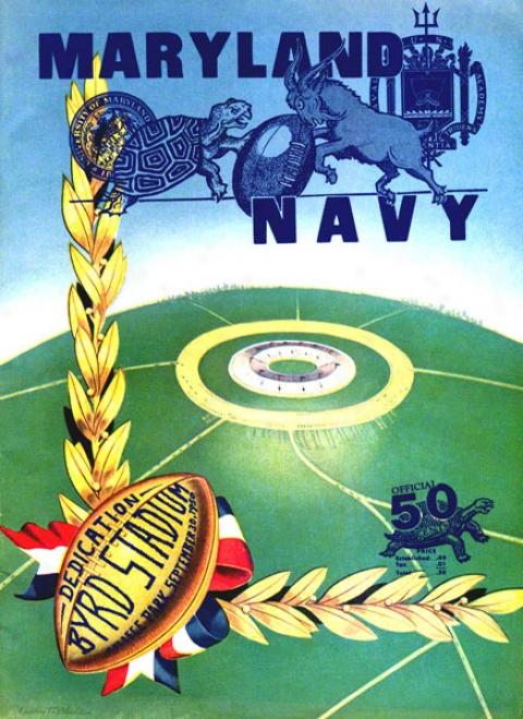 19550 Maryland Vs. Navy 22 X 30 Canvas Historic Football Print