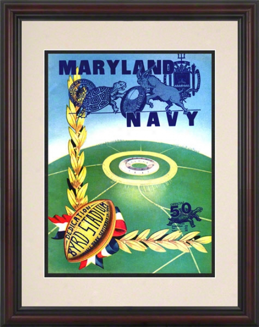 1950 Maryland Vs. Navy 8.5 X 11 Framed Historic Football Print