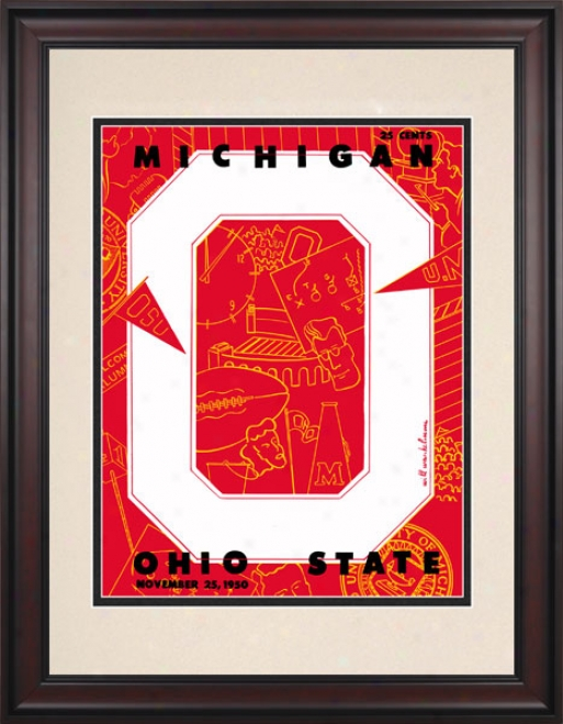 1950 Ohio State Buckeyes Vs. Michigan Wolverines 10.5x14 Framed Historic Football Print