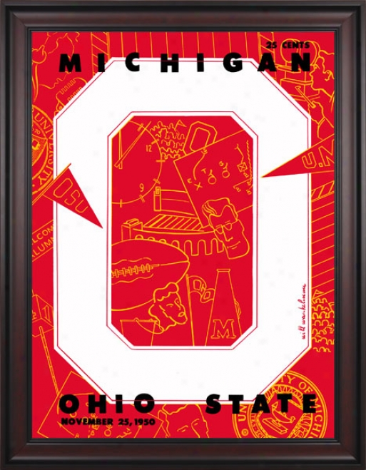 1950 Ohio State Buckeyes Vs. Michigan Wolverines 36 X 48 Framed Canvas Historic Football Stamp