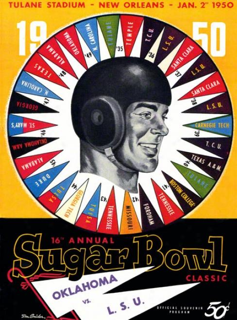 1950 Oklahoma Vs Lsu 22 X 30 Canvas Historic Football Print