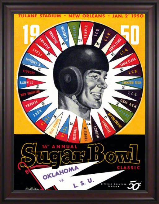 1950 Oklahoma Vs Lsu 36 X 48 Framed Canvas Historic Football Print