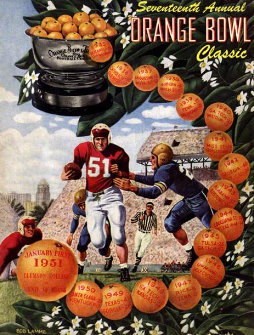 1951 Clemson Vs. Miami 36 X 48 Canvas Historic Football Newspaper