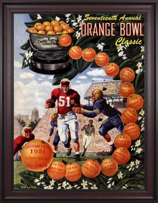 1951 Clemson Vs. Miami 36 X 48 rFamed Canvas Historic Football Print