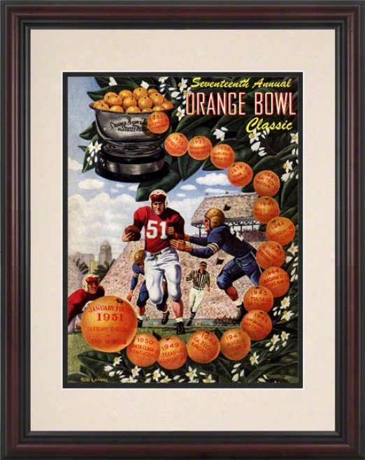 1951 Clemson Vs. Miami 8.5 X 11 Framed Hist0ric Football Print