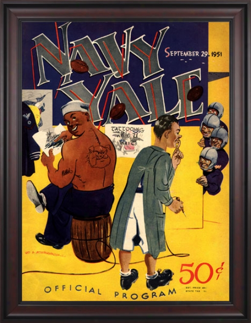 1951 Yale Bulldogs Vs. Navy Midshipmen 36 X 48 Framed Canvas Historic Football Print