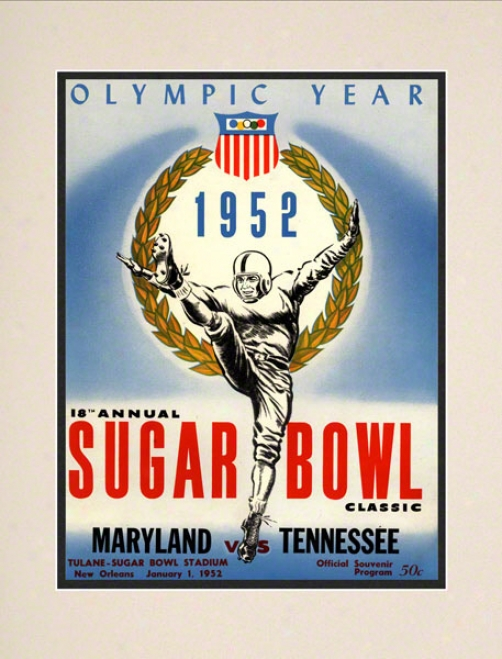 1952 Maryland Vs. Tennessee 10.5x14 Matted Historic Football Print