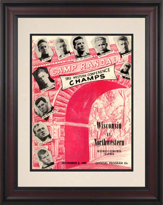 1952 Wisconsin Vs. Northwestern 10.5x14 Framed Historic Football Print
