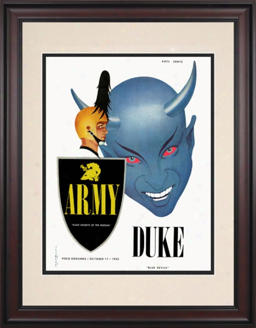 1953 Army Black Knights Vs. Duke Blue Devils 10.5x14 Framed Historic Football Print