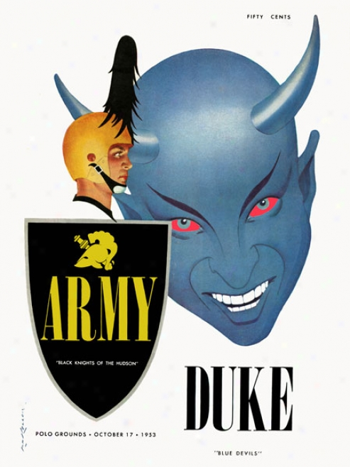 1953 Army Boack Knights Vs. Duke Blue Devils 36 X 48 Canvas Historci Football Print