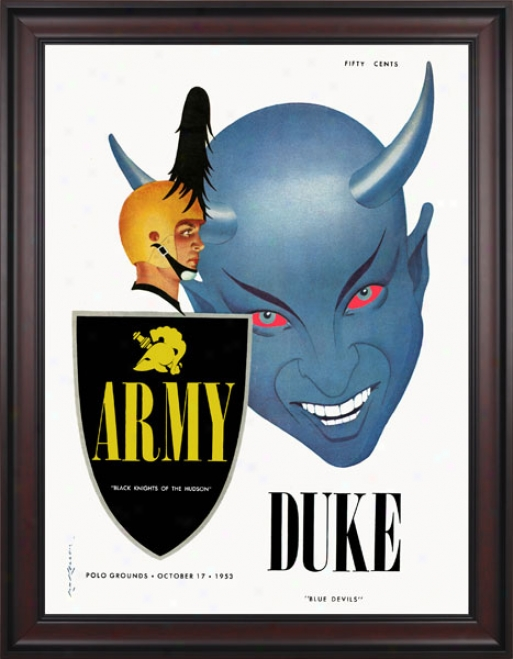 1953 Army Black Knights Vs. Duke Blue Devils 36 X 48 Framed Canvas Historic Football Print