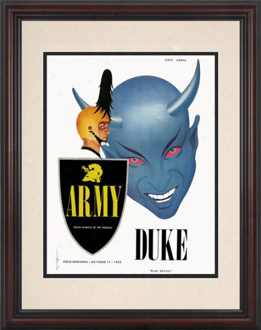 1953 Army Blavk Knights Vs. Duke Blue Devils 8.5 X 11 Framed Historic Football Print