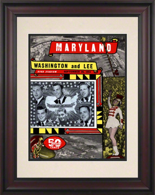 1953 Maryland Vs. Washington & Lee 10.5x14 Framed Historic Football Print