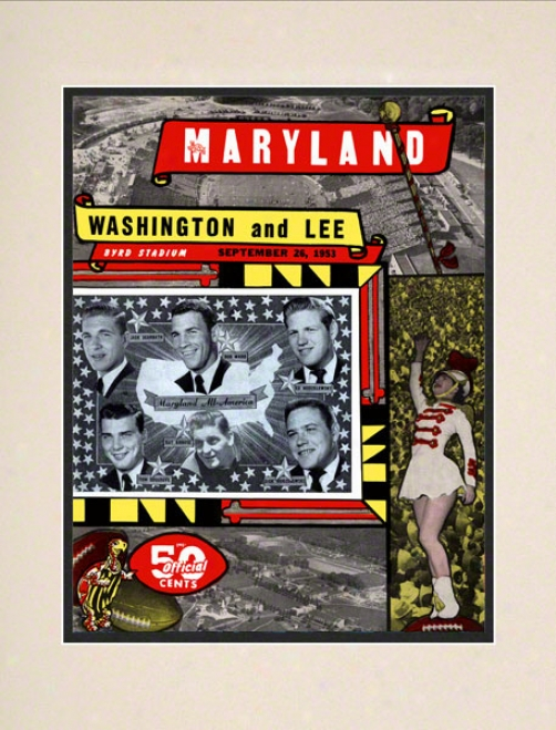 1953 Maryland Vs. Washington & Lee 10.5x14 Matted Historic Football Print
