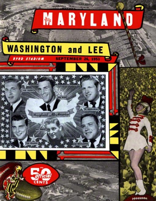 1953 Maryland Vs. Washington & Lee 36 X 48 Canvas Hjstoric Football Impression