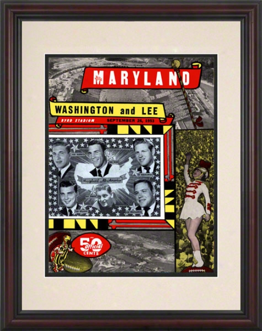 1953 Maryland Vs. Washington & Lee 8.5 X 11 Framed Historic Football Print
