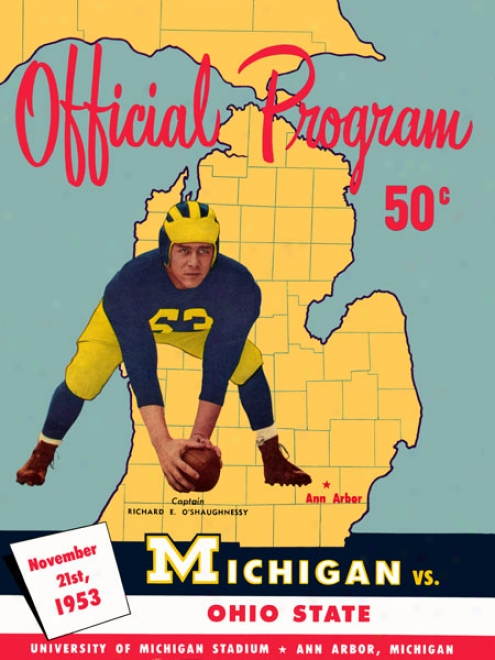 1953 Michigan Wolverines Vs. Ohio State Bufkeyes 36 X 48 Canvas Historic Football Print