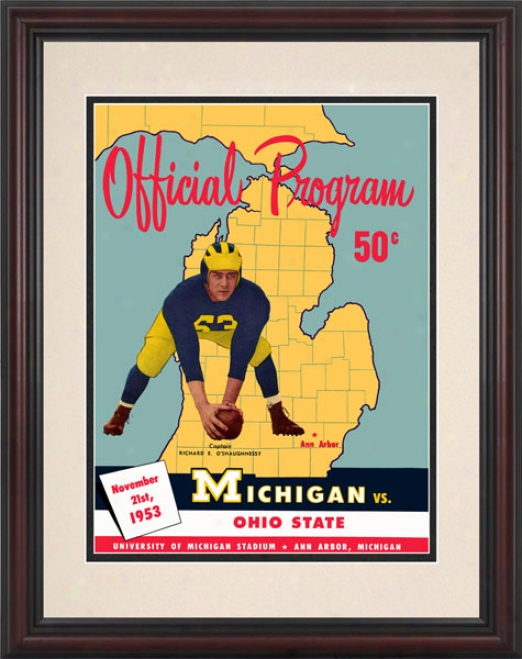 1953 Michigan Wolverines Vs. Ohio State Buckeyes 8.5 X 11 Framed Historic Football Print