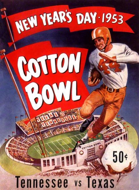 1953 Texas Vs. Tennessee 22 X 30 Canvas Historic Football Print