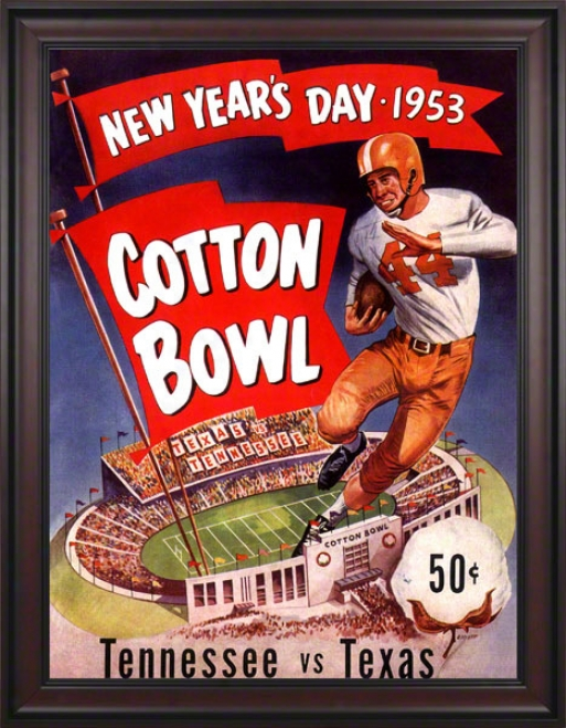 1953 Texas Vs. Tennessee 36 X 48 Framed Canvas Historic Football Print