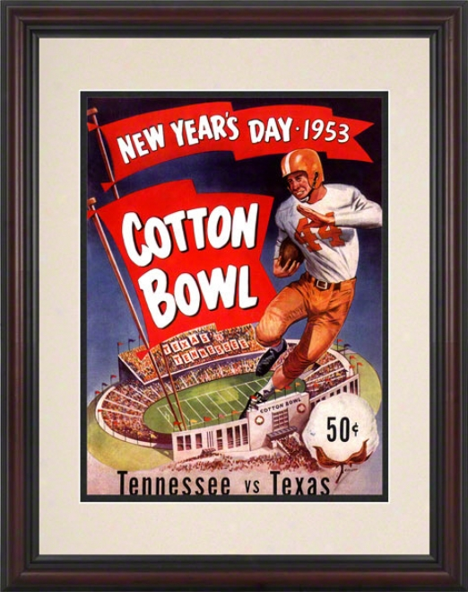 1953 Texas Vs. Tennessee 8.5 X 11 Framed Historic Football Print