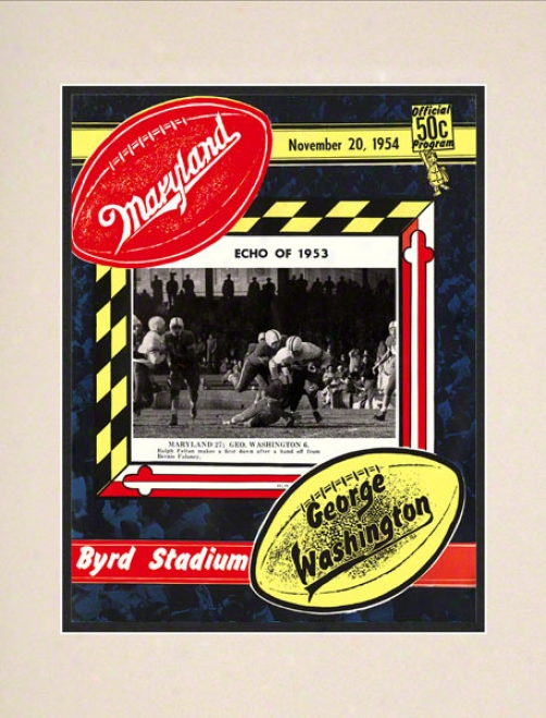 1954 Maryland Vs. George Washington 10.5x14 Matted Historic Football Print