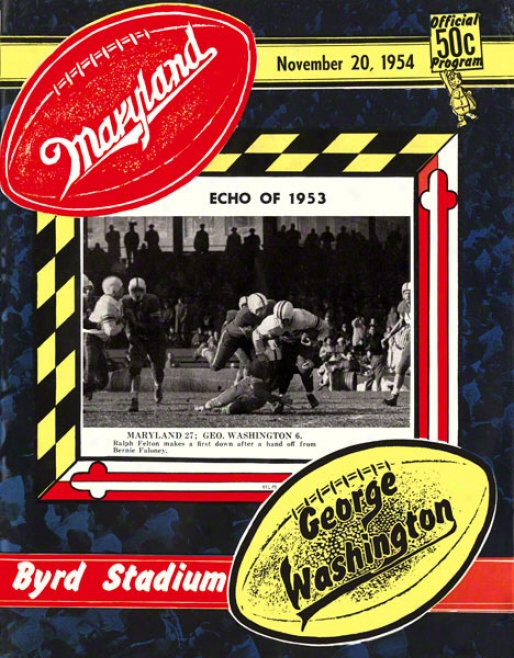 1954 Maryland Vs. George Washington 2 X 30 Canvas Historic Football Print