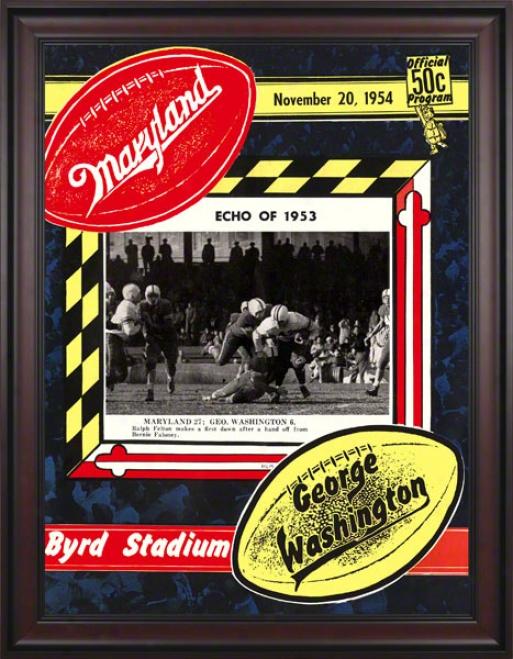 1954 Maryland Vs. George Washington 36 X 48 Framed Canvas Historic Football Print