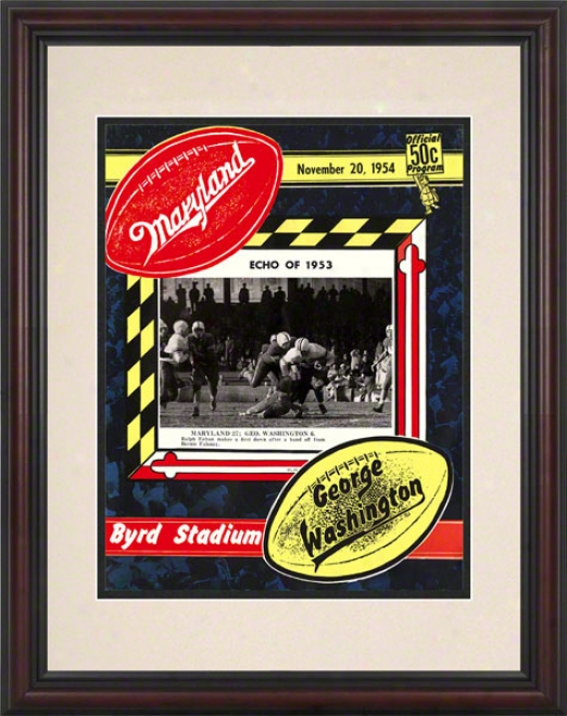 1954 Maryland Vs. George Washington 8.5 X 11 Framed Historic Football Print