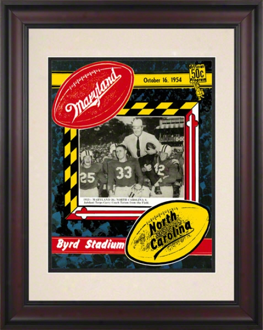 1954 Maryland Vz. North Carolina 10.5x14 Framed Hsitoric Football Print