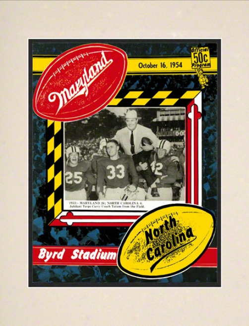 1954 Matyland Vs. North Carolina 10.5x14 Matted Hisgoric Football Print