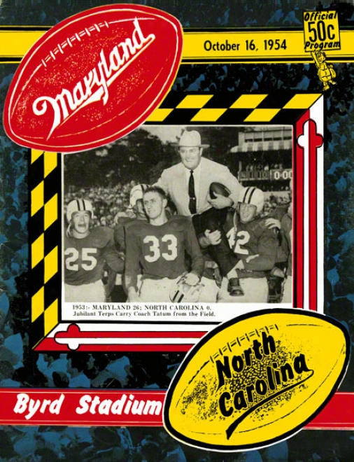 1954 Maryland Vs. North Carolina 36 X 48 Canvas Historic Football Print