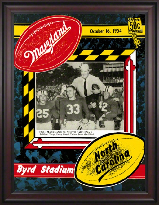 1954 Maryland Vs. Northerly Carolina 36 X 48 Framed Canvas Historic Football Print