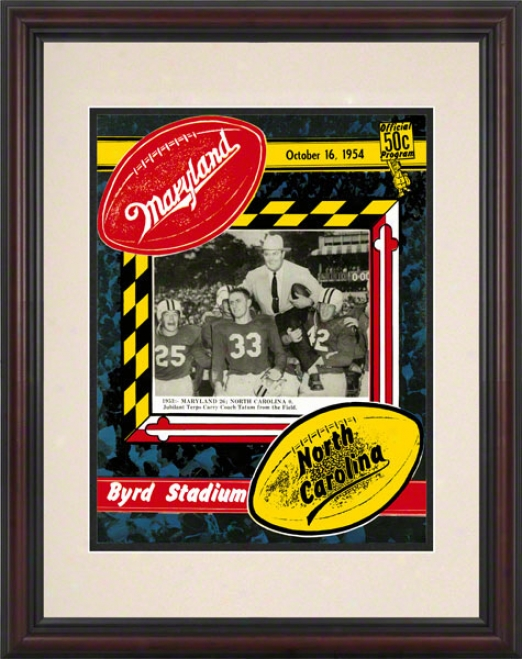 1954 Maryland Vs. North Carolina 8.5 X 11 Framed Historic Football Print