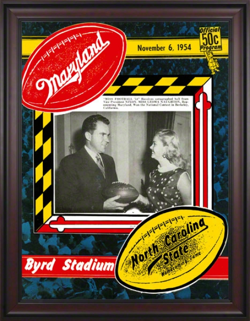 1954 Maryland Vs. Northerly Carolina State 36 X 48 Framed Canvas Historic Football Print