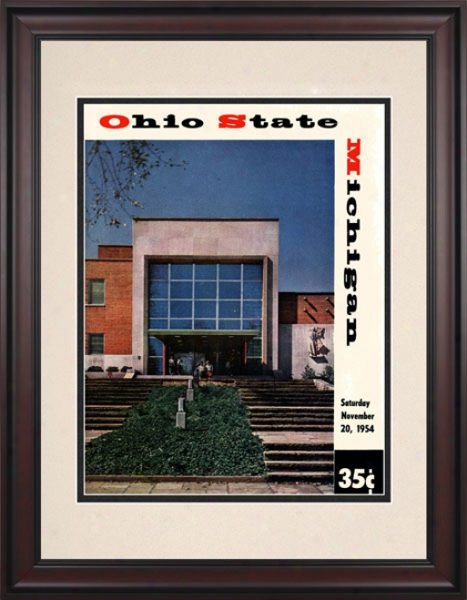 1954 Ohio State Buckeyes Vs. Michigan Wolverines 10.5x14 Framed Historic Football Print
