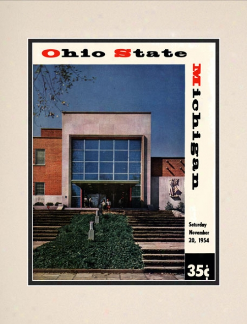 1954 Ohio State Buckeyes Vs. Michigan Wolverines 10.5x14 Matted Historic oFotball Print