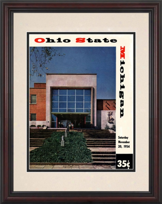 1954 Ohio State Buckeyes Vs. Michigan Wolverines 8.5 X 11 Framed Historic Fpotball Print