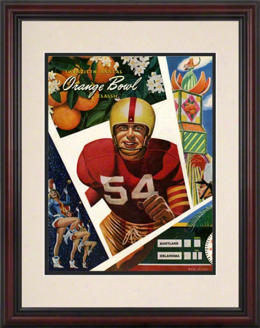 1954 Oklahoma Vs Maryland 8.5 X 11 Framed Historic Football Print