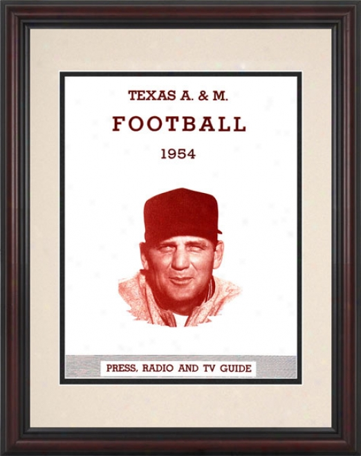 1954 Texas A&m Aggies - Bryant 8.5 X 11 Framed Historic Football Print