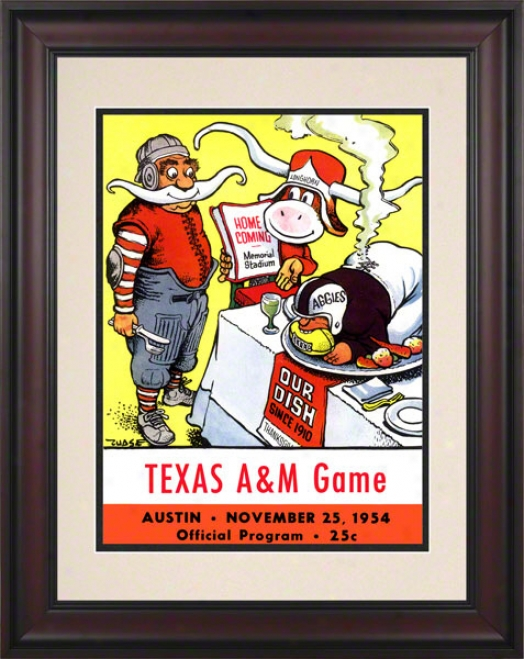 1954 Texas Vs. Texas A&m 10.5x14 Framed Historic Football Print