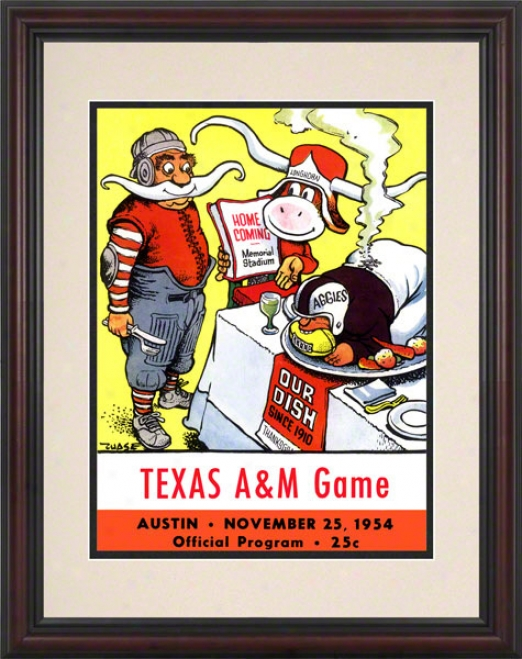 1954 Texas Vs. Texas A&m 8.5 X 11 Framed Historic Football Print
