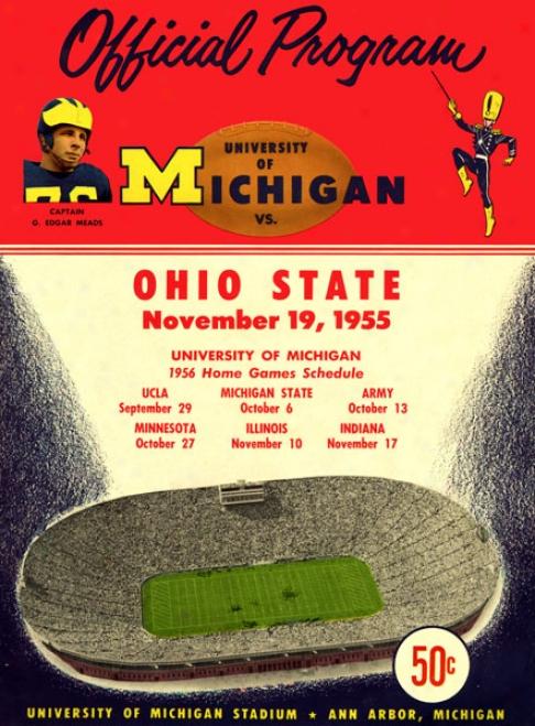 1955 Michigan Wolverines Vs. Ohio State Buckeyes 22 X 30 Canvas Historic Football Print