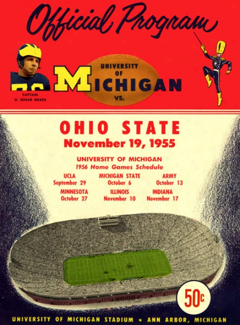 1955 Michigan Wolverines Vs. Ohio State Buckeyes 36 X 48 Canvas Historic Footbal Print