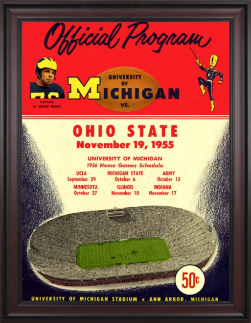 1955 Michigan Wolverines Vs. Ohio State Buckeyes 36 X 48 Framed Canvaz Historic Football Print