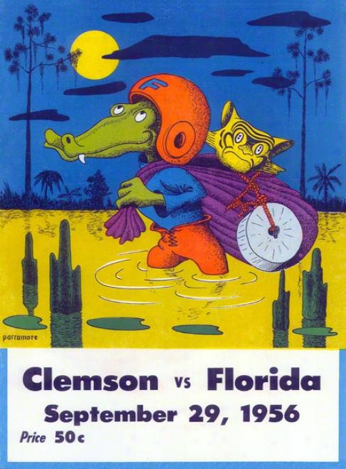 1956 Florida Vs. Clemson 22 X 30 Canvas Historic Football Print