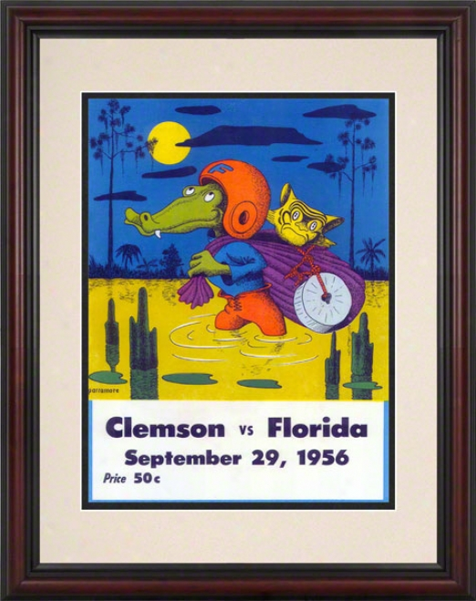 1956 Florida Vs. Clemson 8.5 X 11 Framed Historic Football Print